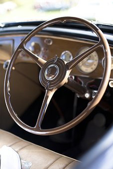 Steering Wheel, Cockpit, Driver's Seat, Vintage, Car