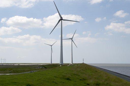 Zeedijk, Windmills, Dyke, Coast, Air, Clouds, Sea