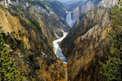 Yellowstone River, Waterfall, Wyoming, Usa