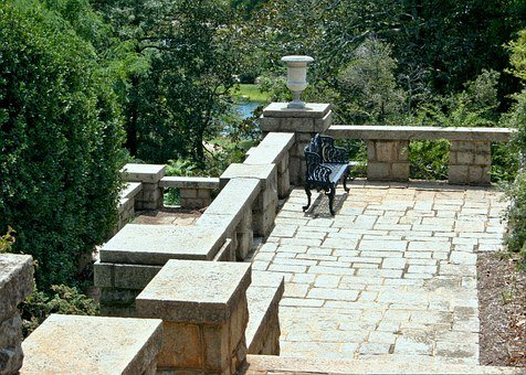 Garden Terrace, Stone Balcony, Bench, Balcony, Terrace