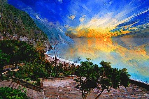 Sunset, Coast, Oil Painting, The Impressionists, Blue