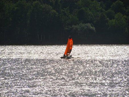 Boat, Catamaran, Sailing, Lake, Brno, Prigl, Water