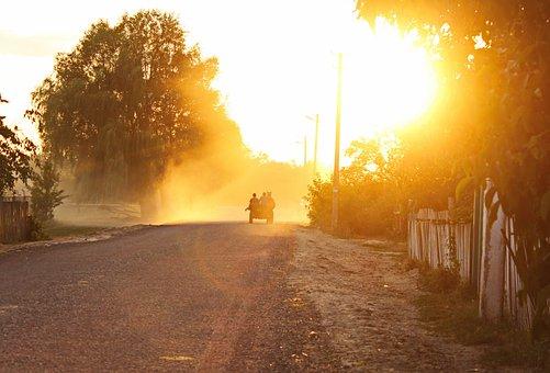 Fog, Cart, Sunset
