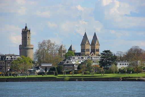 City, Castle, Rein, Spring, Bonn, Church, Beach
