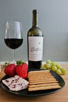 Wine, Cheese, Fruit, Crackers, Wine And Cheese
