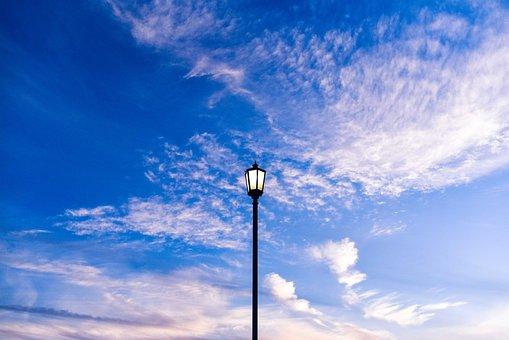 Sky, Blue, Clouds, Street, Light, Lantern, Clear