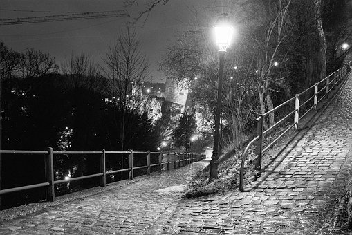 Luxembourg, Park, Night, Light, Spacer, Lanterns