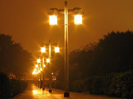 Streets, Night, Scene, Taiwan, Lanterns, Lights