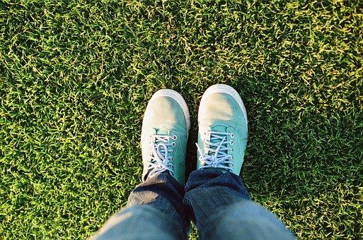 Feet, Legs, Grass, Lawn, Grunge, Green, Standing, Jeans