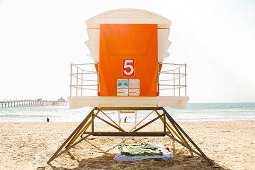 Beach, Lifeguard Tower, Ocean, Outdoors, Pier, Sand