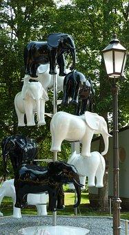 Bad Sooden-allendorf, Sculpture, Elephant, White, Black