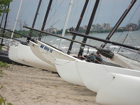 Catamarans, Beach, Sea, Shore, Tourism, Vessel