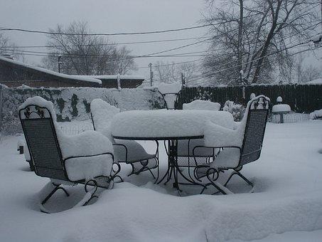 Garden Furniture, Snow, Furniture, Outdoor, Table