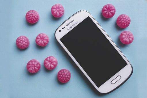 Pink, Candy, Sugar, White, Smartphone, Technology