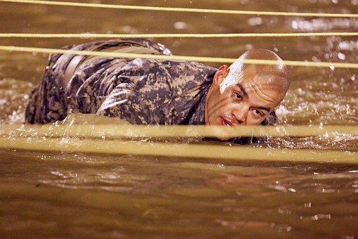 Man, Army, Training, Military, Water, Rigorous