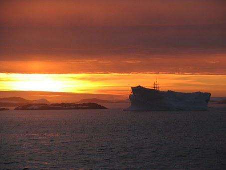 Antarctica, Iceberg, Sunset, Midnight, Nature, Beauty