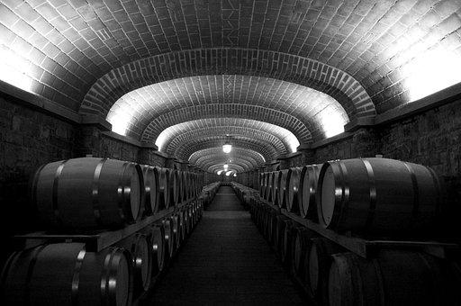 Botti, Ceiling, Lights, Cellar, Wine, Black And White