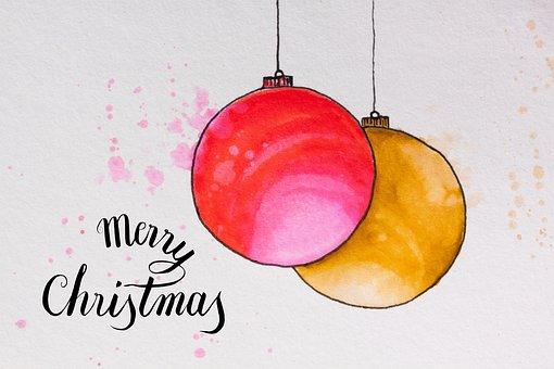 Christmas, Map, Ball, Christmas Ornament, Red, Gold