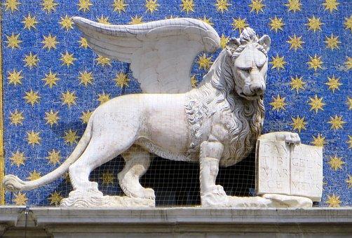 Italy, Venice, Saint-marc, Statue, Lion, Emblem