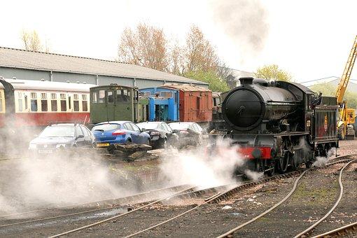 Train, Engine, Locomotive, Steam, Cars, Station