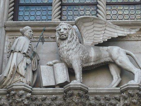 Venice, Italy, Lion, Statue