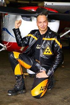 Aircraft, Human, Man, Leather Jacket, Leather Pants