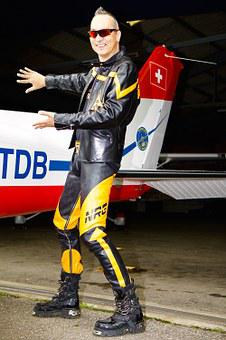 Aircraft, Wing, Flying, Human, Man, Leather Suit