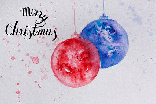 Christmas, Map, Ball, Christmas Ornament, Red, Blue