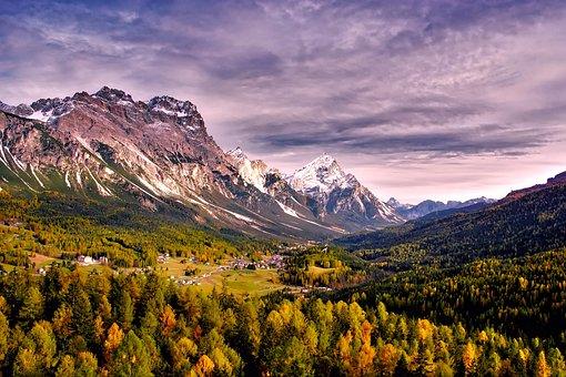 Passo Giau, Italy, Mountains, Fall, Autumn, Forest