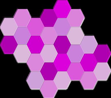 Geometric, Hexagons, Purple, Shades, Shapes, Hues