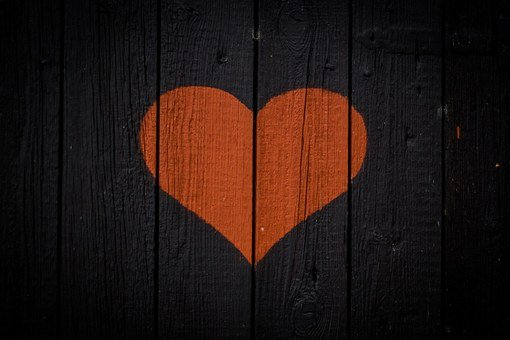 Heart, Wood, Red, Black, Valentine, Outhouse, Wooden
