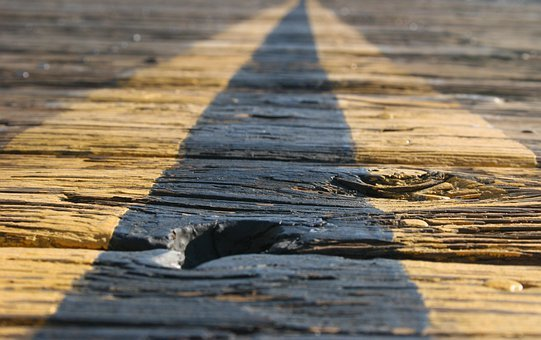 Road, Vanishing Point, Wood, Wooden Planks, Point