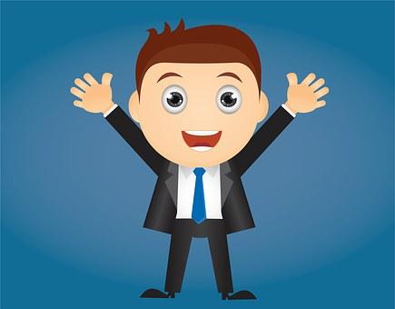 Adult, Business, Businessman, Cartoon, Character