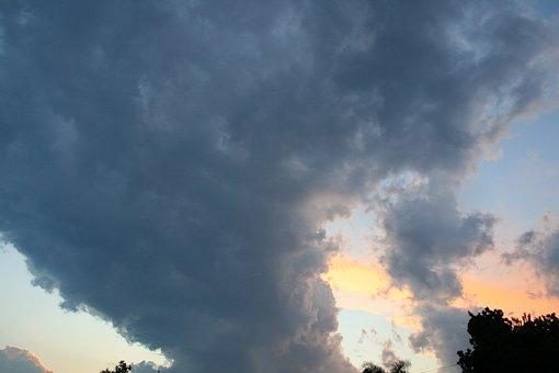 Cloud, Funnel Shaped, Tall, Dark, Sunset, Sky