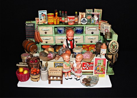 Shop, Historically, Toys, 1940s, Play, Dolls, Old Toys