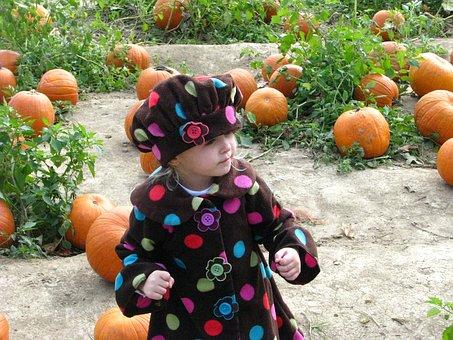 Girl, Little, Cap, Pumpkin, Child, Smiling