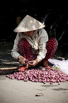 Adult, Agriculture, Food, Market, Onions, Outdoors