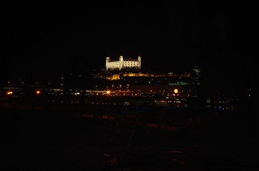 Bratislava, Castle, Slovakia, Dark, Night, Lighting