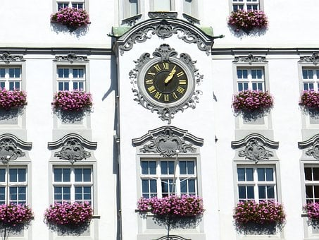 Clock, Time Of, Window, Facade, Town Hall