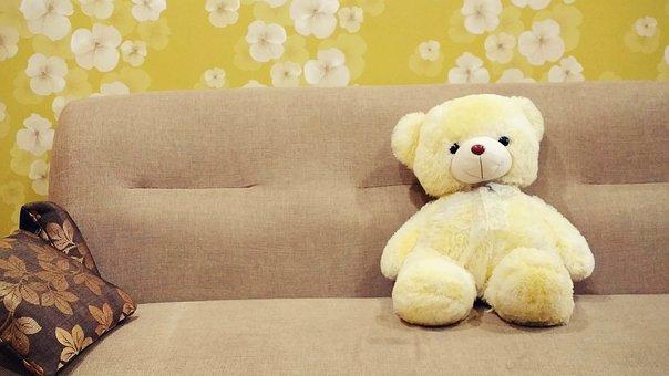 Teddy Bear, Toy, Brown, Cushion, Kids Toy, Sofa