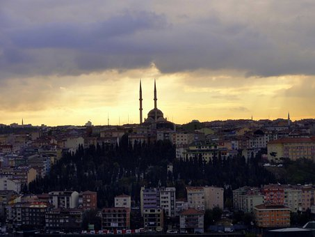 Sky, Sunset, Clouds, Skyline, Istanbul, Cities, Tukey