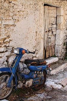 Motorcycle, Wall, Old, Lapsed, Wreck, Old Town, Door