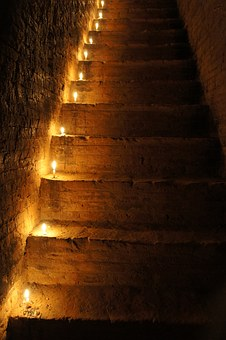 Rise, Stairs, Staircase, Stone Stairway, Go Up, Candles