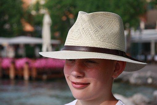 Hat, Face, Child, Portrait, Look, Self-conscious