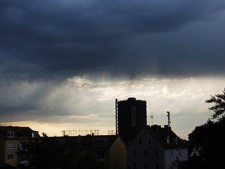 Twilight, Rain Clouds, Gas Boilers, Augsburg, Dark