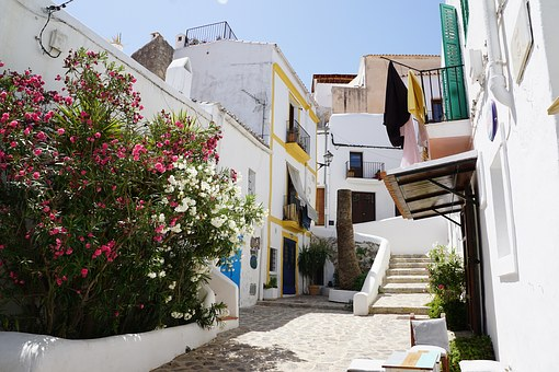 Ibiza, City, Road, House, White, Eivissa, Away, Idyllic