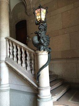 Staircase, Dragon, Lamp