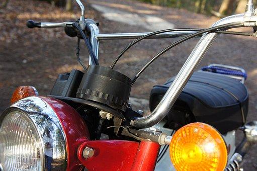 Moped, Motorcycle, Red, Suzuki, Classic