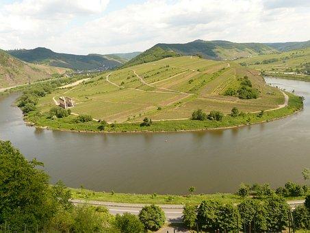 Bend, Mosel, Bremm, Sachsen, River, River Loop, Meander