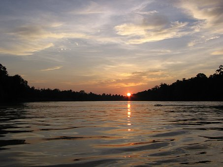 Sunsets, Rivers, Water, Orange, Stars, Glowing, Spots